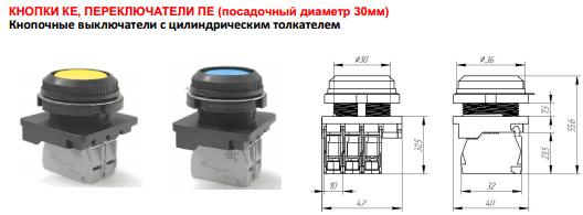 Кнопочные выключатели с цилиндрическим толкателем