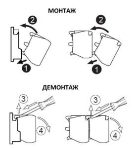 Монтаж и демонтаж блоков контактов и основания